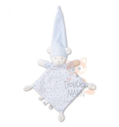 Doudou plat Ours Blanc Bonnet Gris Etoiles Étiquettes Nicotoy etat Neuf