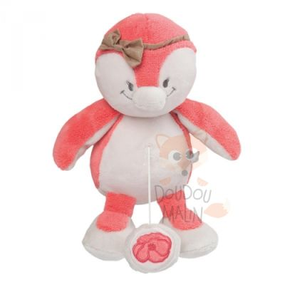 daisy et coco peluche musicale pingouin rose beige noeud