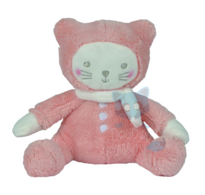 petit chat peluche orange saumon blanc