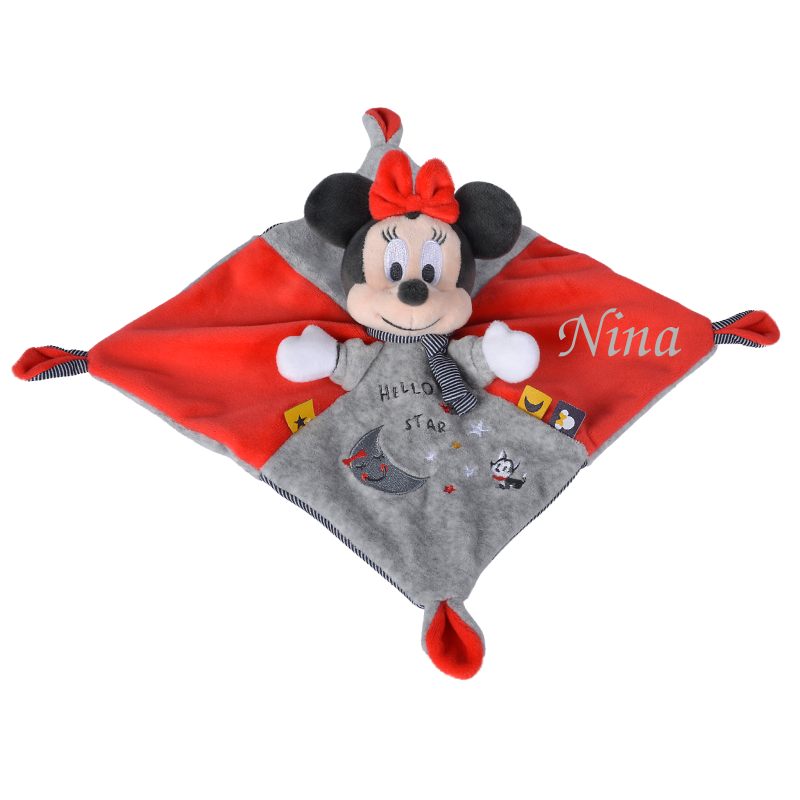 minnie souris plat stary night rouge gris 25 cm