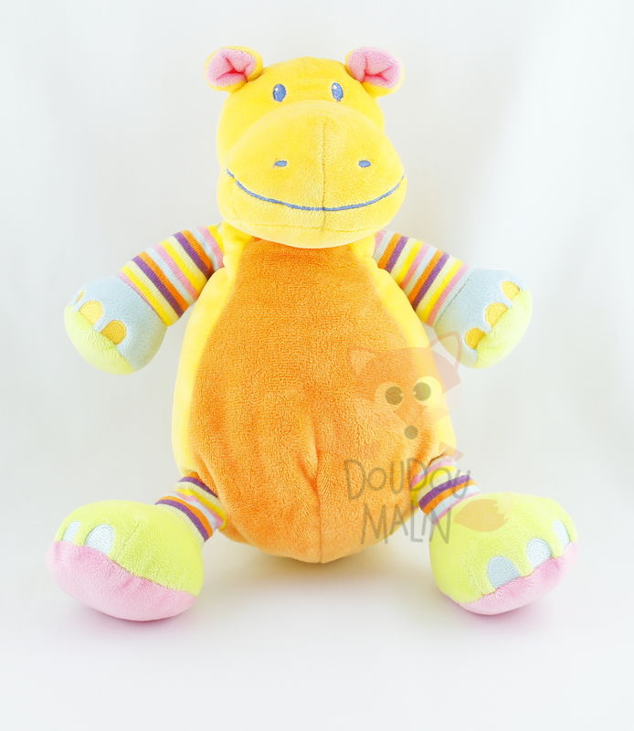animaux jungle peluche hippopotame jaune orange