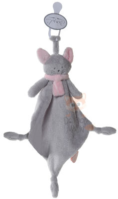 cléo chat attache sucette gris rose