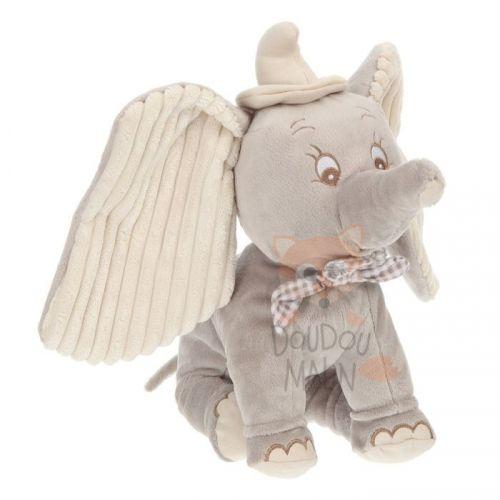 Doudou Dumbo plat gris beige étoile Disney NICOTOY NOEUD VICHY NEUF