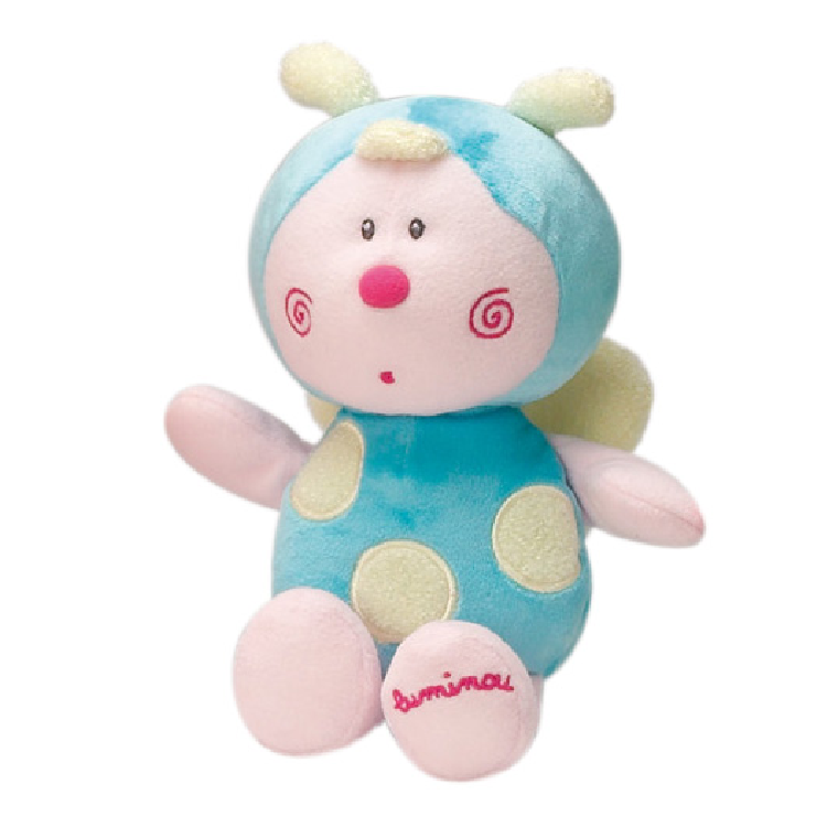 luminou peluche luminescente papillon bleu 15 cm