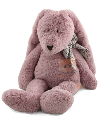 flore peluche lapin rose noeud medium