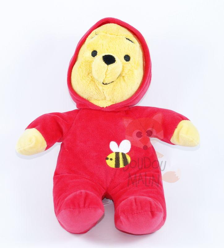 doudou Winnie l/'ourson disney baby 14 cm salopette rouge arbre oiseau étiquettes