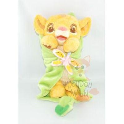 peluche simba bb feuille couverture lion jaune vert papillon rose - Disney Bebe
