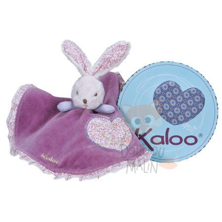 hippie chic lapin plat rond violet blanc coeur