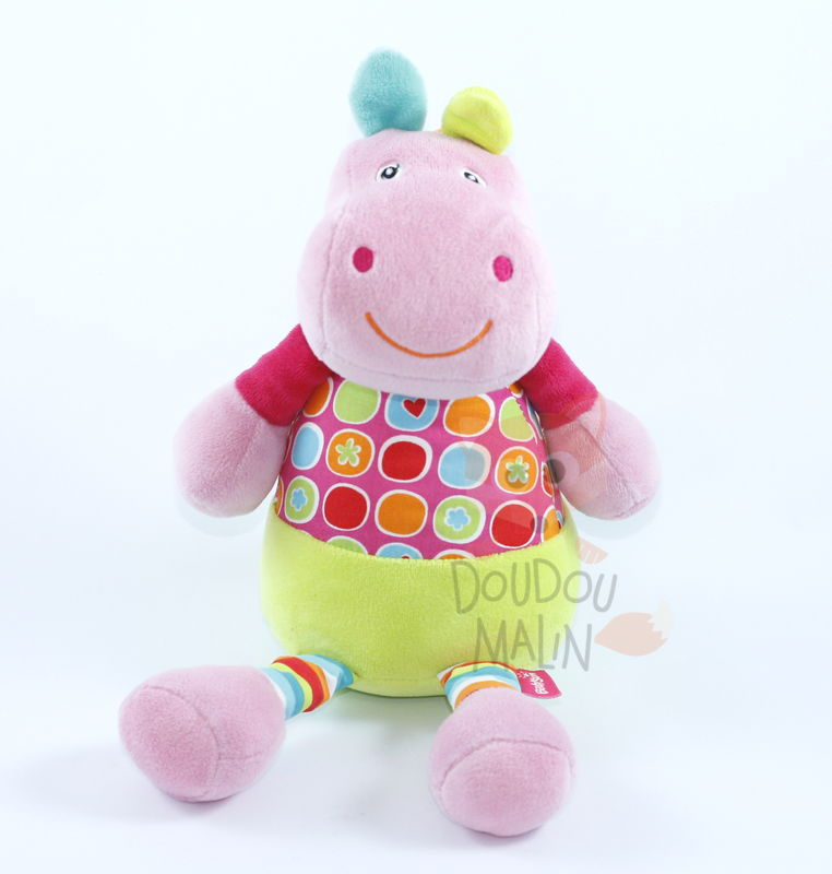 rivergang peluche hippopotame rose vert rouge orange