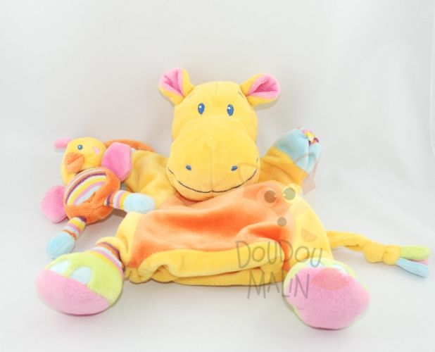 animaux jungle marionnette hippopotame poussin jaune orange bleu rose