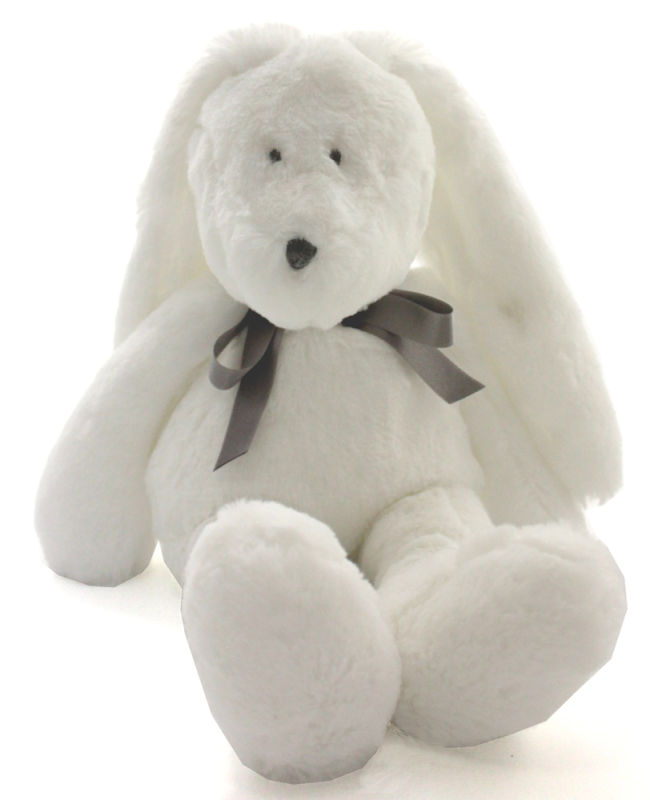 neela peluche lapin blanc noeud medium