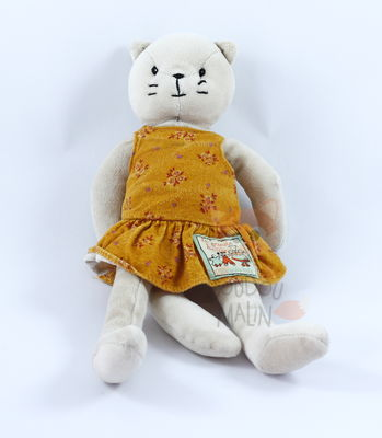 grande famille peluche agathe chat robe orange
