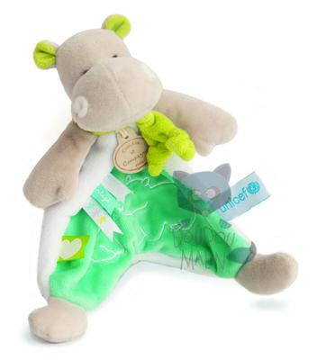 Doudou et Compagnie Unicef Baby comforter Hippopotamus Green