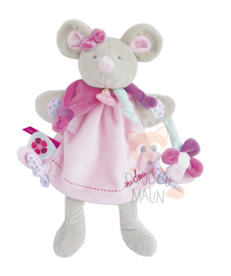 marionnette souris pearly rose gris