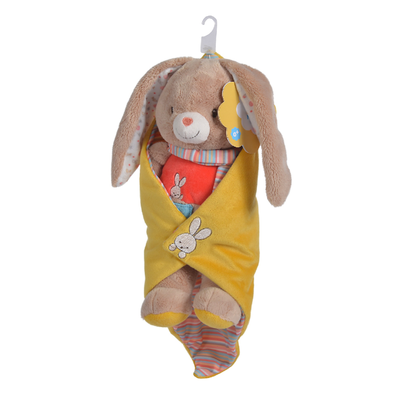 twiny peluche couverture lapin beige jaune