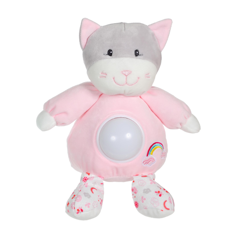 rainbow veilleuse chat rose 26 cm