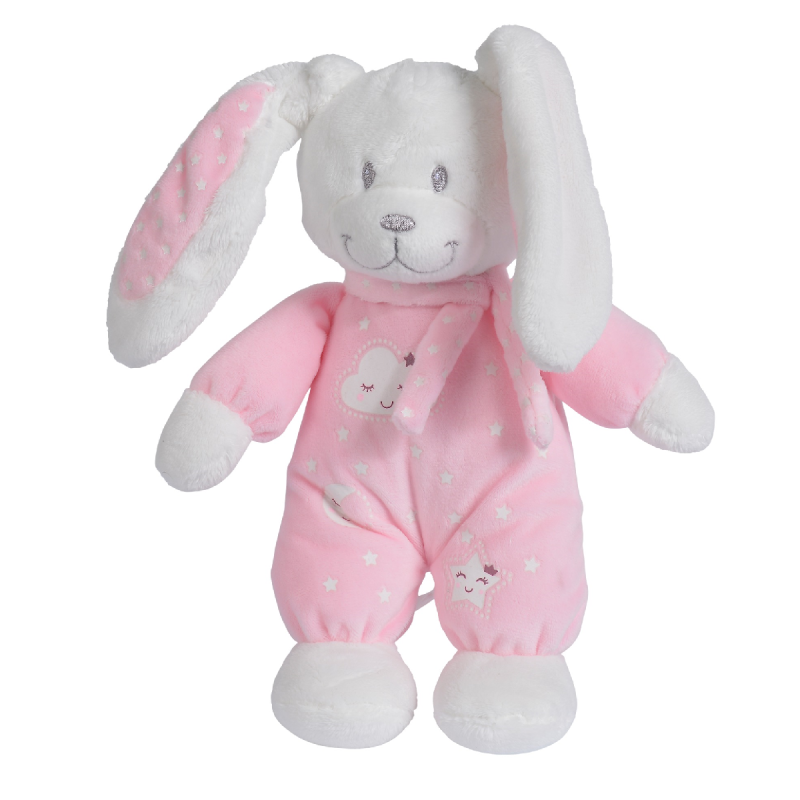 - new boone glow peluche lapin rose 30 cm