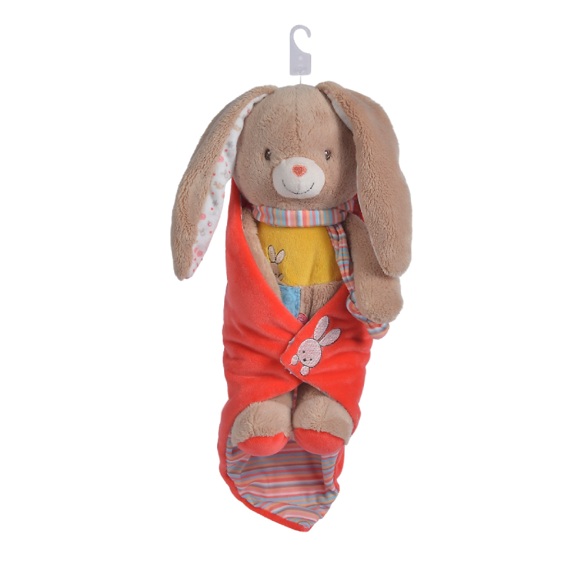 twiny peluche couverture lapin beige rouge