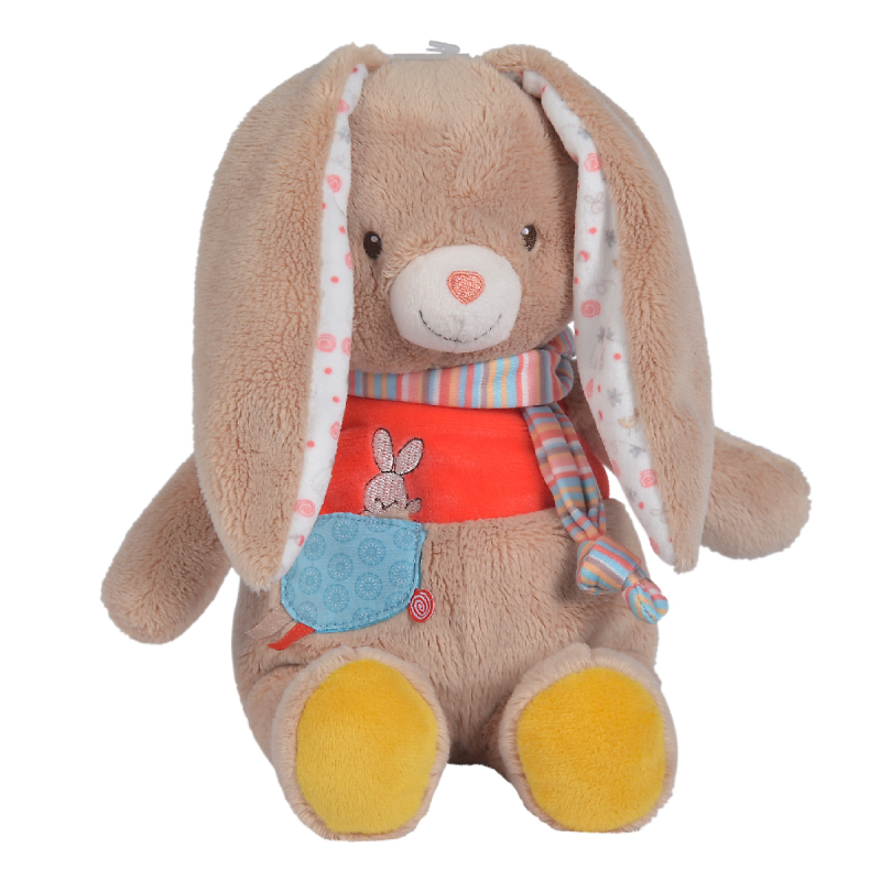 twiny peluche lapin beige rouge 25 cm