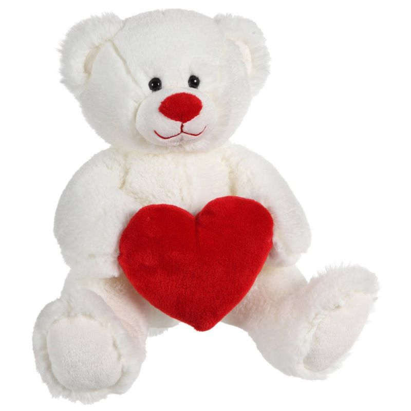 peluche ours coeur valentin rouge blanc 25 cm
