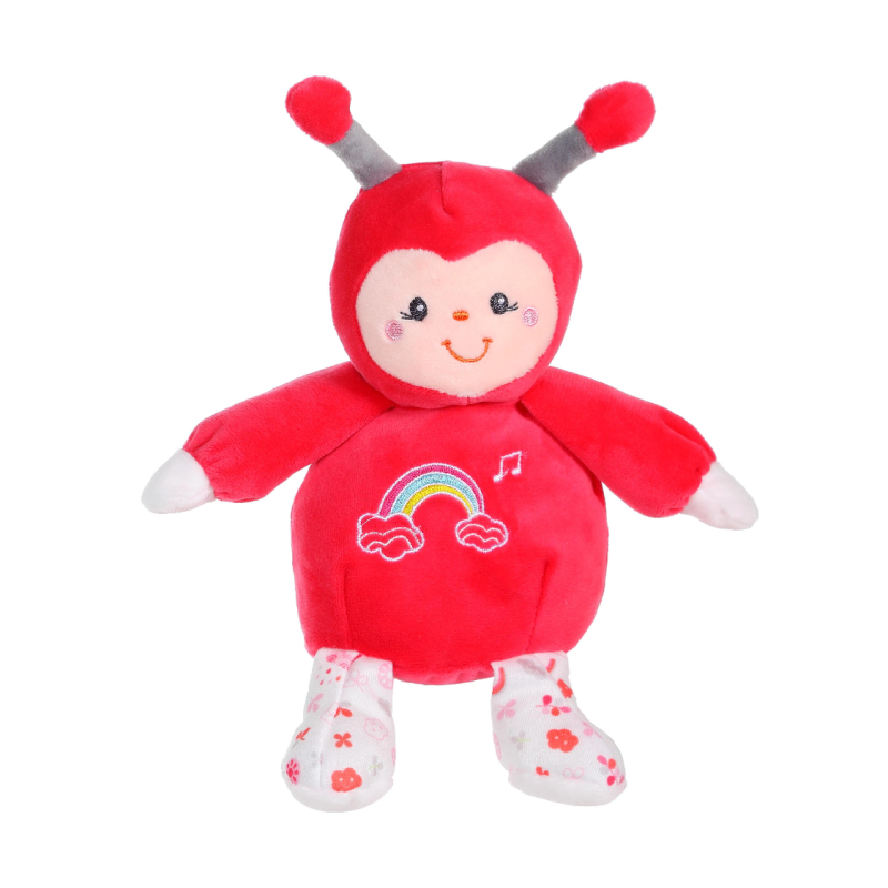 rainbow peluche musicale coccinelle rose 15 cm