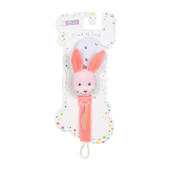 rainbow attache-sucette lapin rose