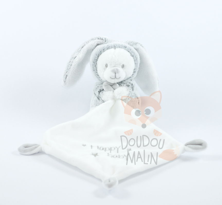 mouchoir lapin ours happy baby blanc gris