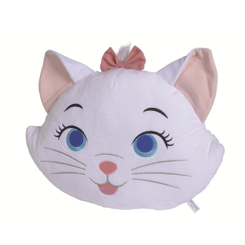 marie chat grand coussin tête blanc 50 cm