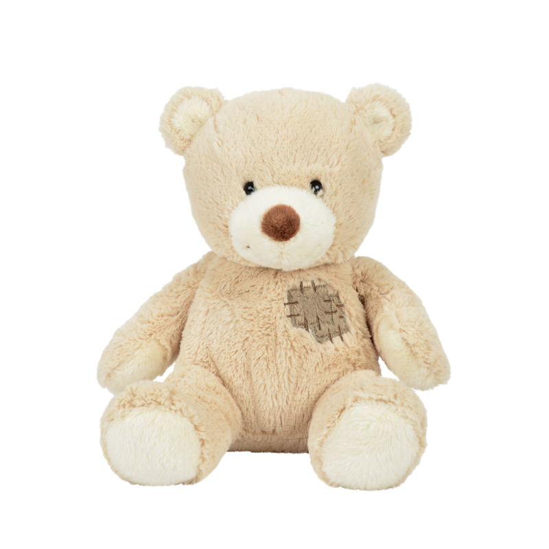 peluche ours patch beige 20 cm