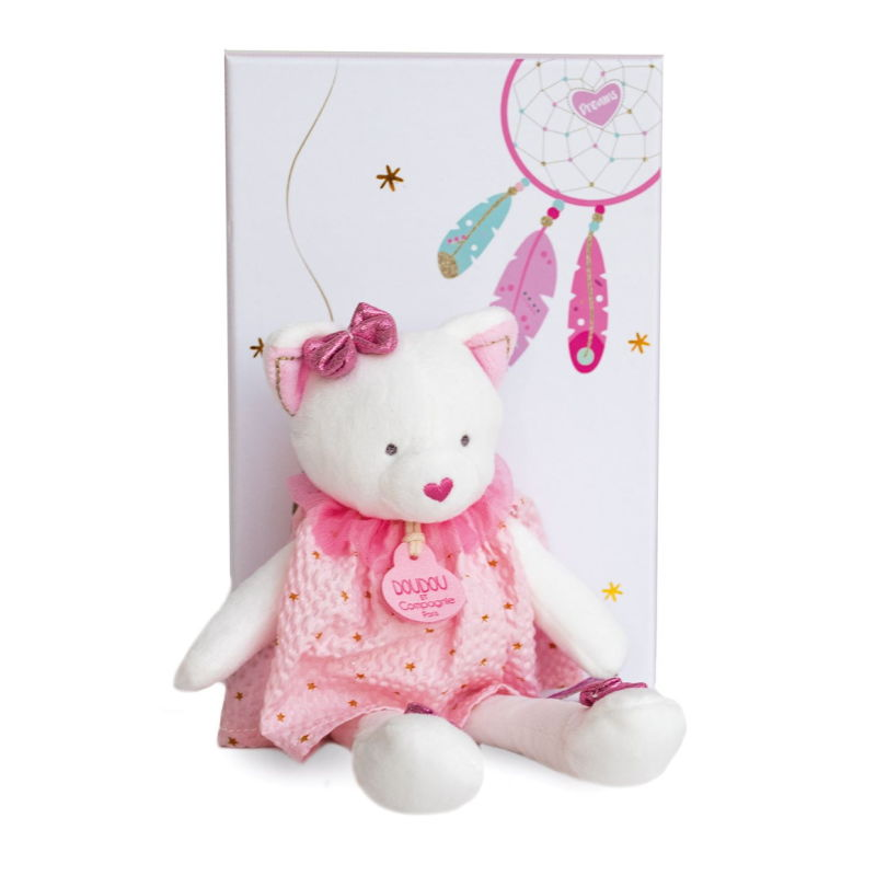 - attrape-rêve peluche chat rose blanc 20 cm