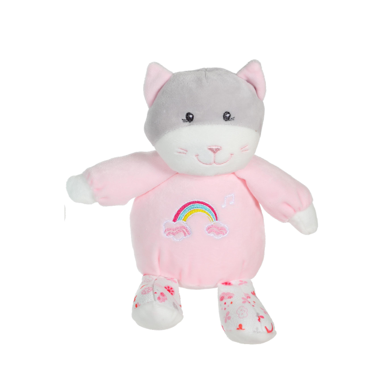 rainbow peluche musicale chat rose 15 cm