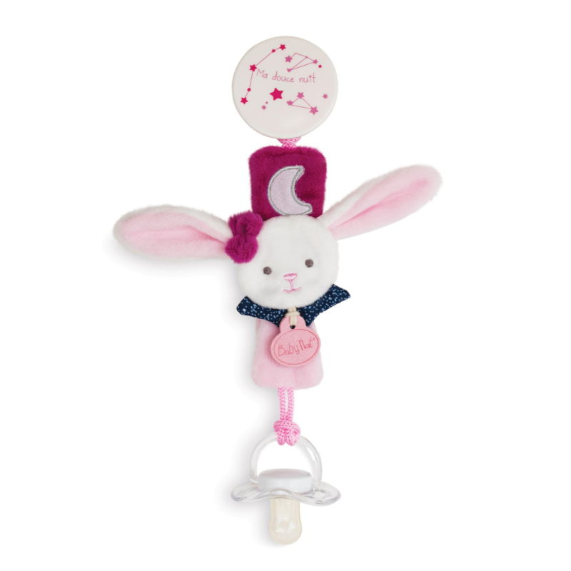 - les luminescents - attache sucette lapin rose