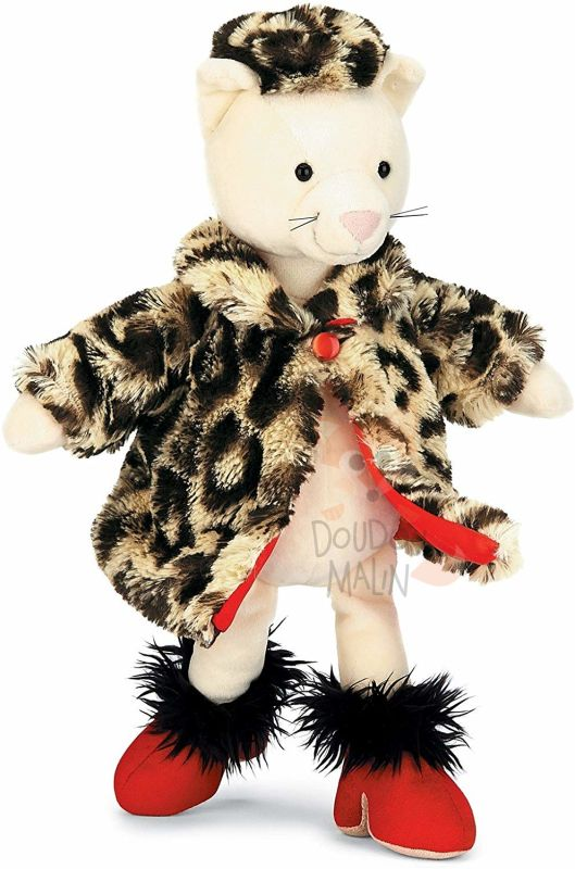 peluche furcoat kitty chat fourrure beige rouge