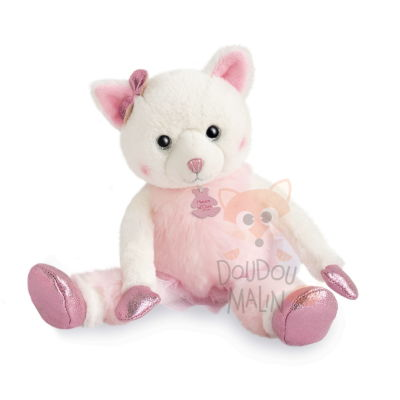 twist misty chat peluche rose - 25 cm