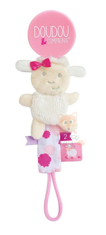 attache-sucette mouton blanc rose