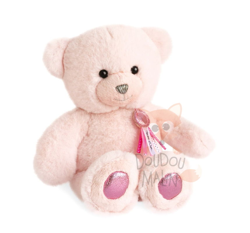 ours charms peluche rose 24 cm