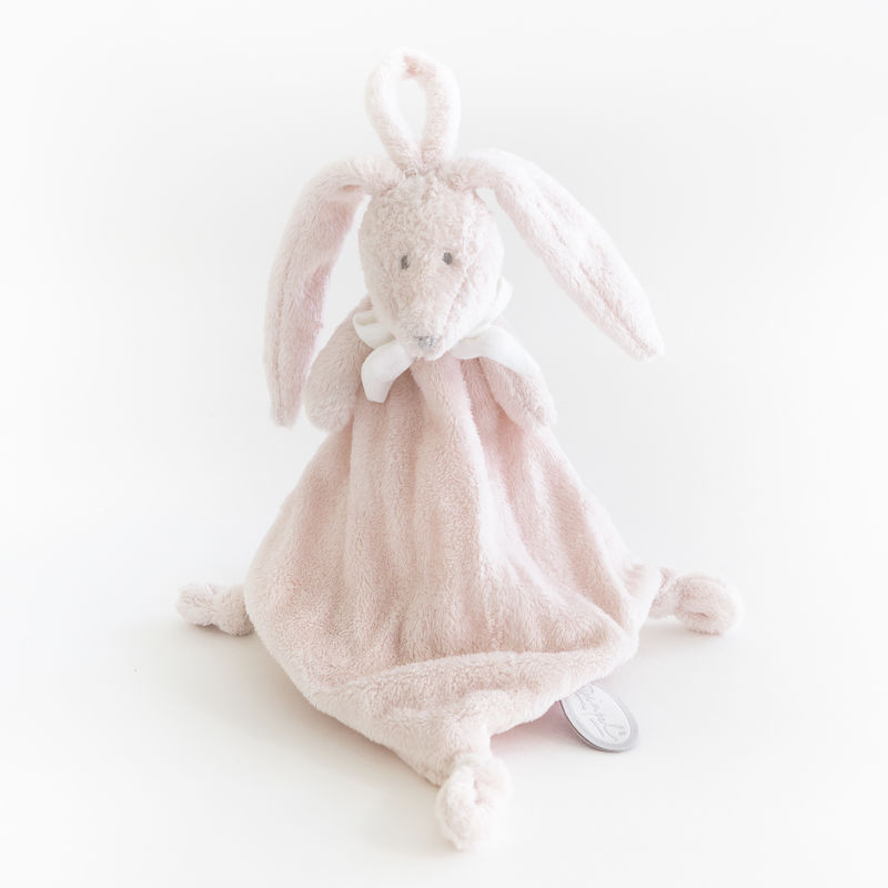 flore lapin attache-sucette rose pâle