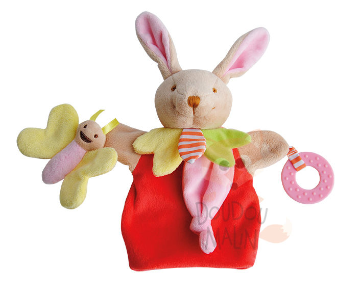 magic marionnette lapin rouge rose jaune