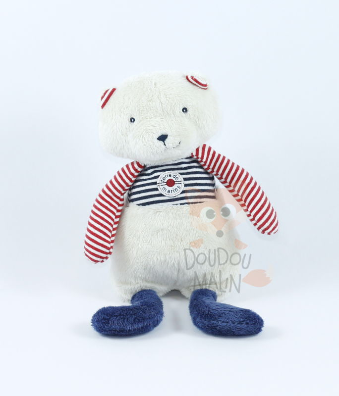 Terre marins peluche ours beige bleu rouge rayé