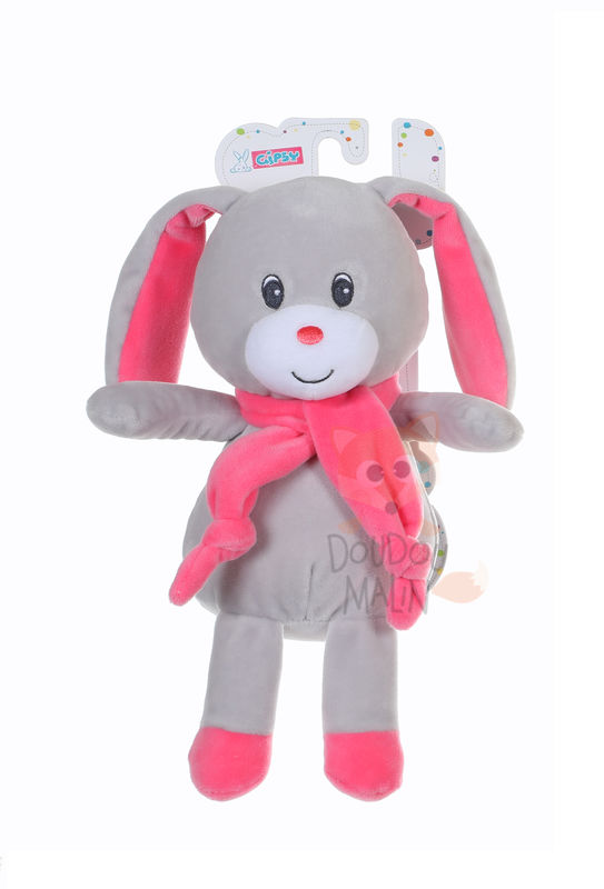 lapin noeud rose gris