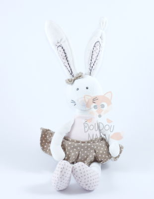 Peluche lapin blanc rose marron robe