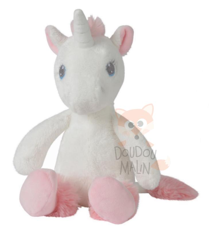 cadeau Doudou marionnette licorne blanche rose étoiles tex baby neuf