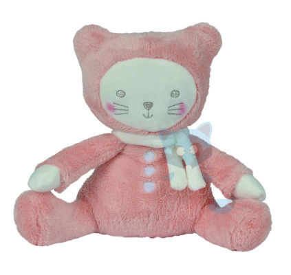 petit chat peluche orange rose blanc 25 cm