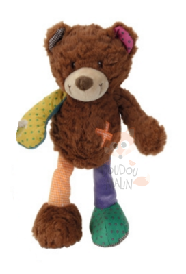 peluche ours marron orange vert croix