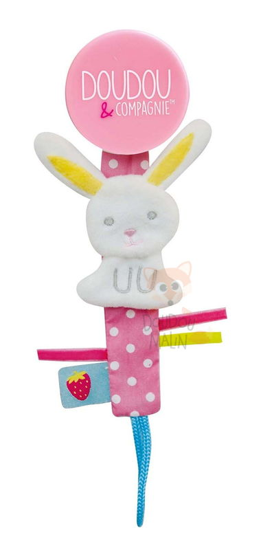 attache-sucette lapin blanc rose
