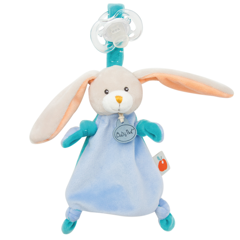 Pom lapin attache-sucette bleu orange pomme