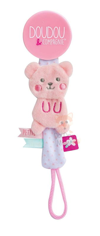 attache-sucette ours rose
