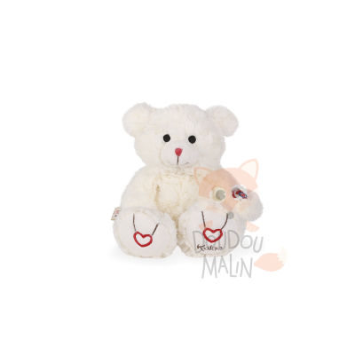 Rouge  peluche ours blanc ivoire
