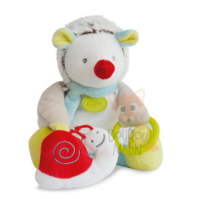 gaston hérisson peluche dactivité blanc gris rouge escargot