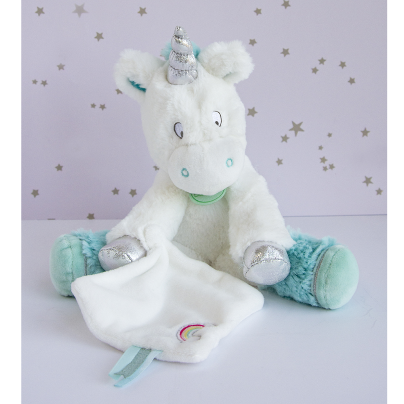 soft toy unicorn blue white silver